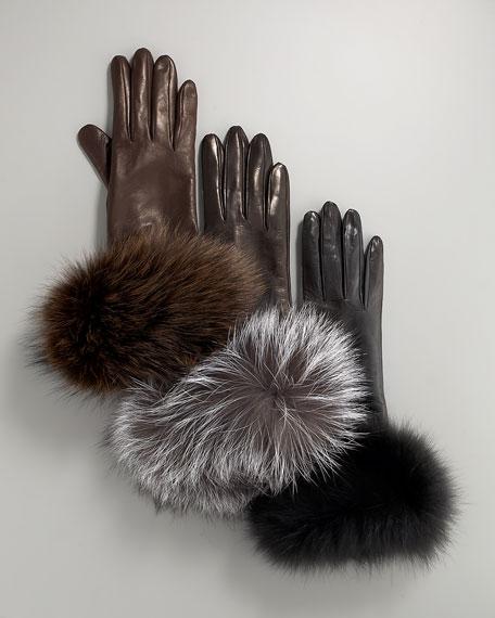 Fox-Trim Leather Gloves