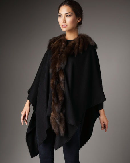 Sable-Trim Cashmere Cape