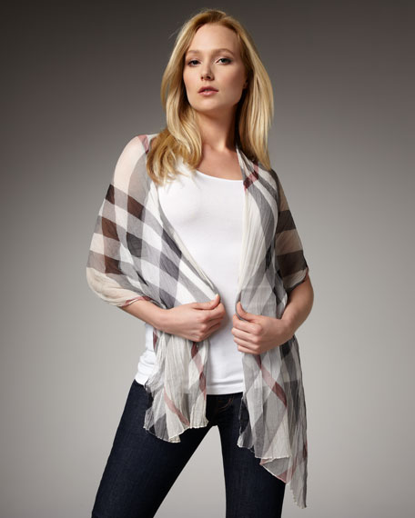Sheer Mega Check Stole, Trench