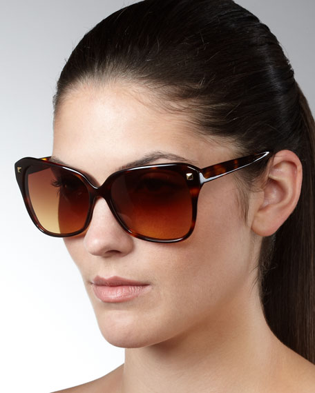 Faithful Squared Cat-Eye Sunglasses, Spanish Cedar