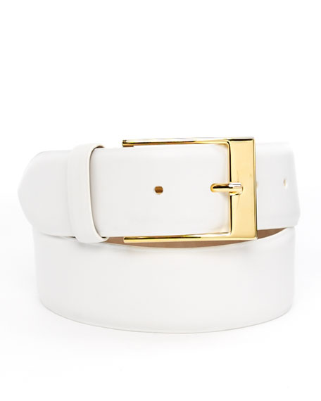 Wide Leather Belt, White