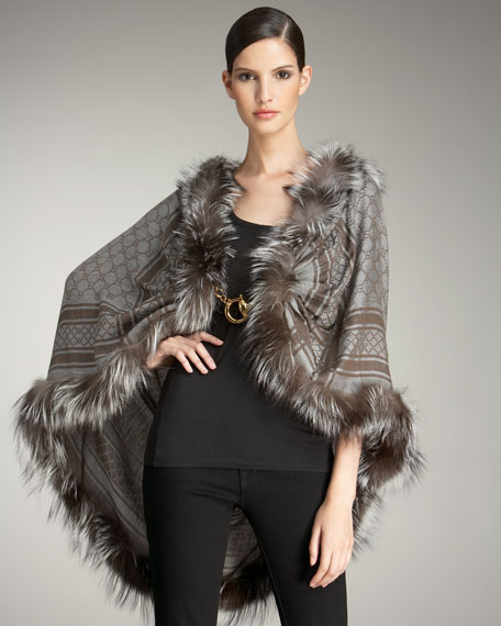 Josy Silver Fox Fur Wrap, Lead/Light Gray