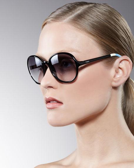 Classic 201 Round Sunglasses, Black