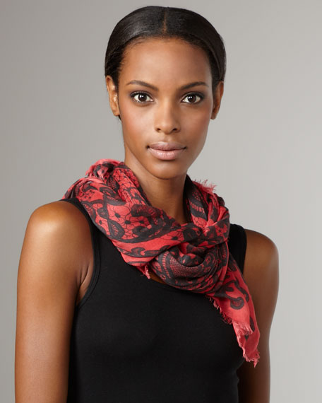 Lace-Print Skull Scarf, Coral