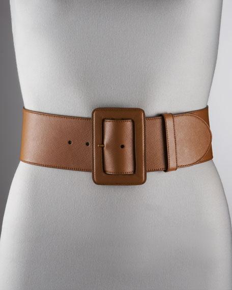 Saffiano Waist Belt, Caramel