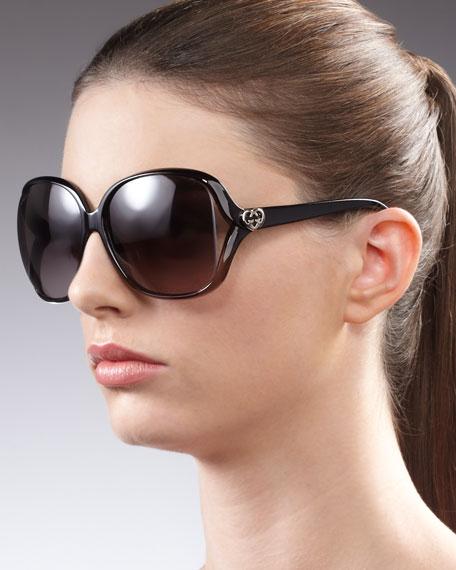 Large Cutout Square Sunglasses, Black