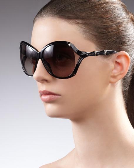 Round Plastic Bamboo-Shaped Sunglasses