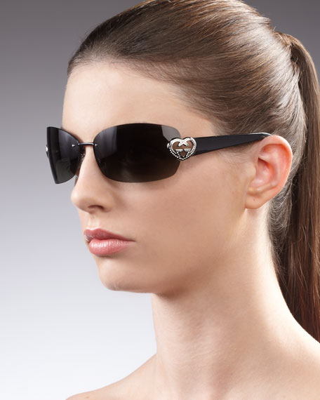 Rimless Side-Logo Sunglasses, Shiny Black/Gray