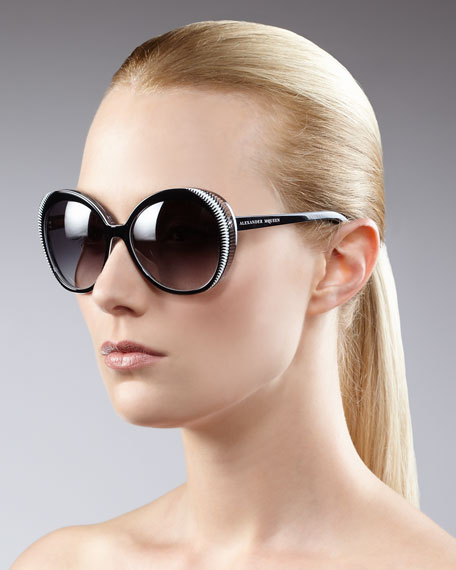 Round Sunglasses, Black