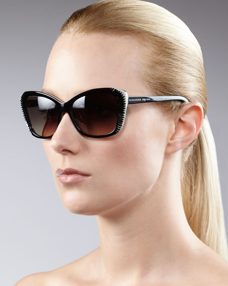 Squared Cat-Eye Sunglasses, Black