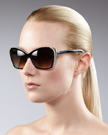 Squared Cat-Eye Sunglasses, Brown
