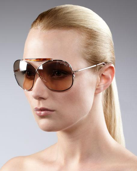 Crossover Aviator Sunglasses, Rose Gold