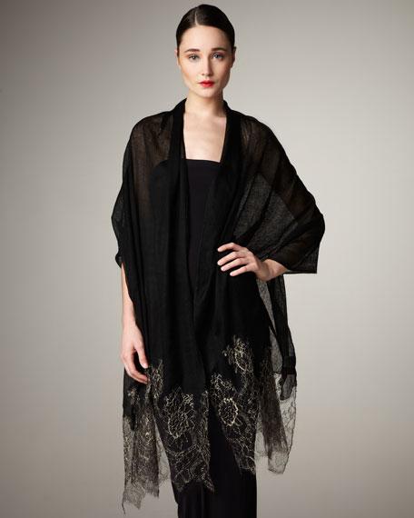 Metallic Lace Stole, Black
