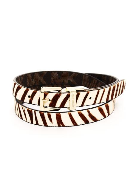Zebra-Print Calf Hair Belt