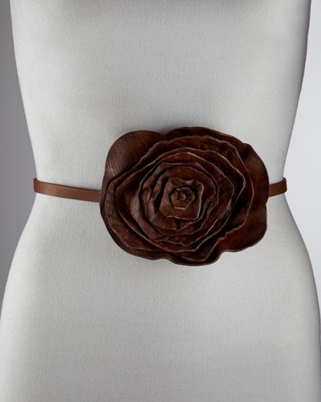 Washed Leather Rose Belt