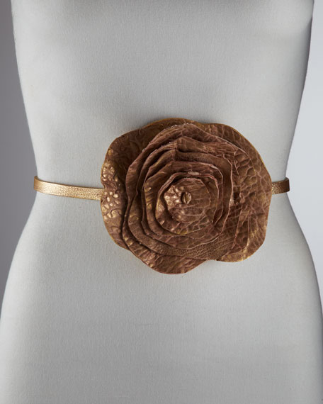 Washed Leather Rose Belt, Golden