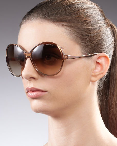 Belle Round Sunglasses, Beige