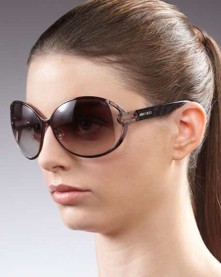 Catherine Leopard-Arm Sunglasses, Brown