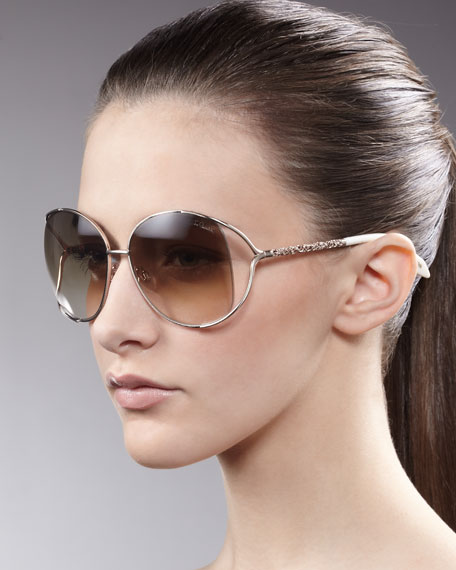 Filigree-Arm Sunglasses, Rose Golden