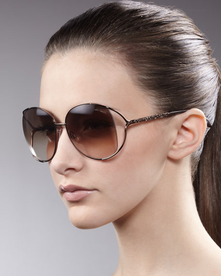 Filigree-Arm Sunglasses, Brown