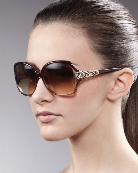 Woven-Temple Sunglasses, Brown