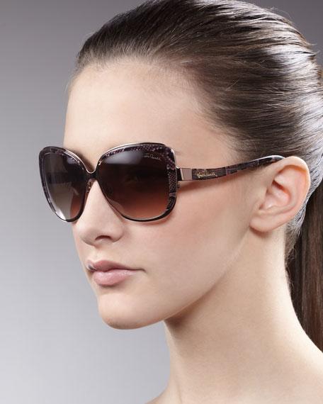 Metal & Enamel Sunglasses, Black