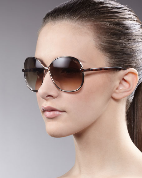 Leila Rounded Sunglasses, Bronze