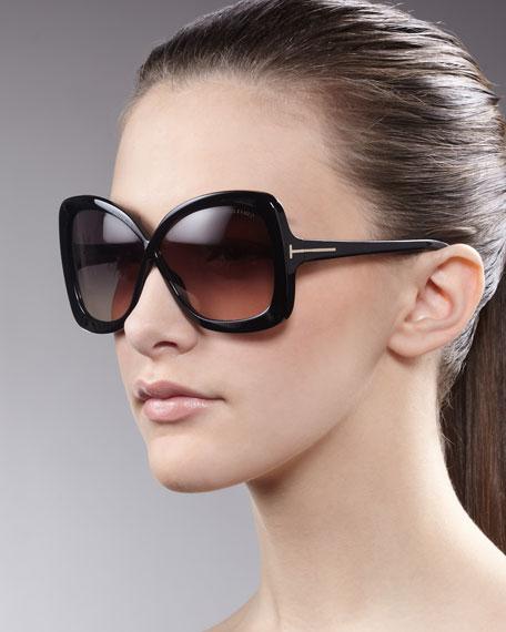 Tom Ford Calgary Butterfly Sunglasses, Black
