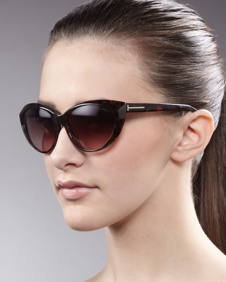 Martina Cat-Eye Sunglasses, Havana