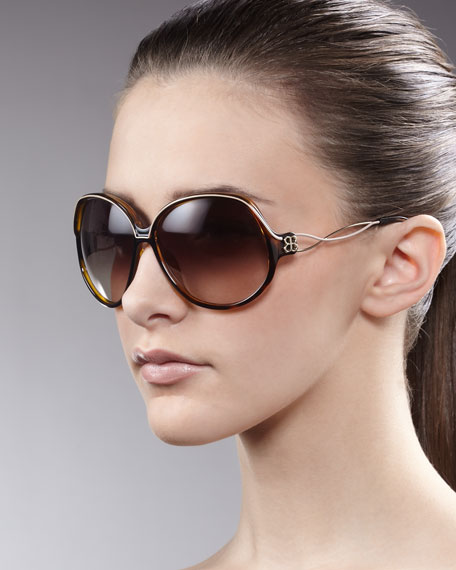 Oversized Woven-Arm Sunglasses, Brown