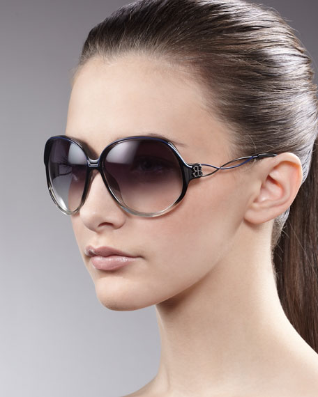 Oversized Woven-Arm Sunglasses, Black