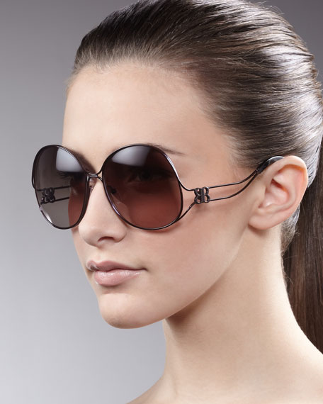 Oversized Metal-Arm Sunglasses, Brown