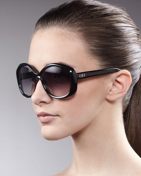 Oversized Enamel Sunglasses, Black