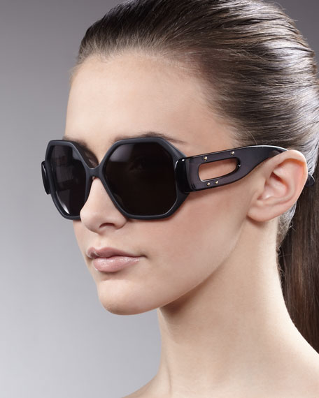 Octagonal Enamel Sunglasses, Black