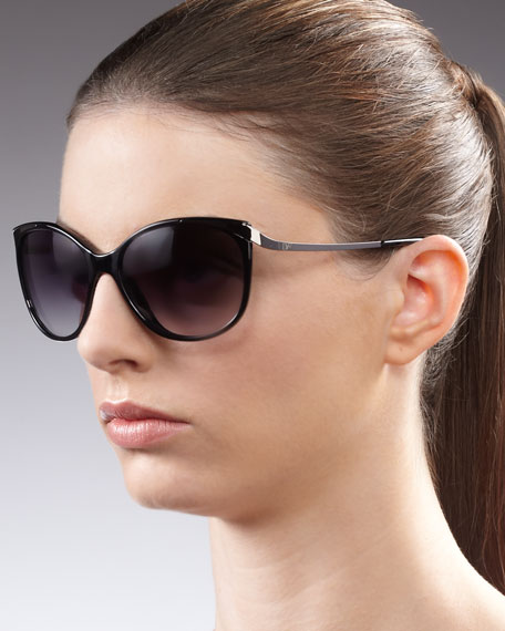 Lindsay Cat-Eye Sunglasses, Black