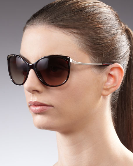 Lindsay Cat-Eye Sunglasses, Tortoise