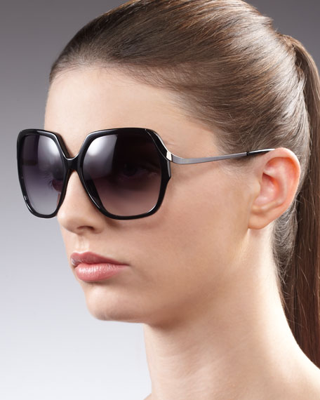 Alejandra Metal-Arm Sunglasses, Black
