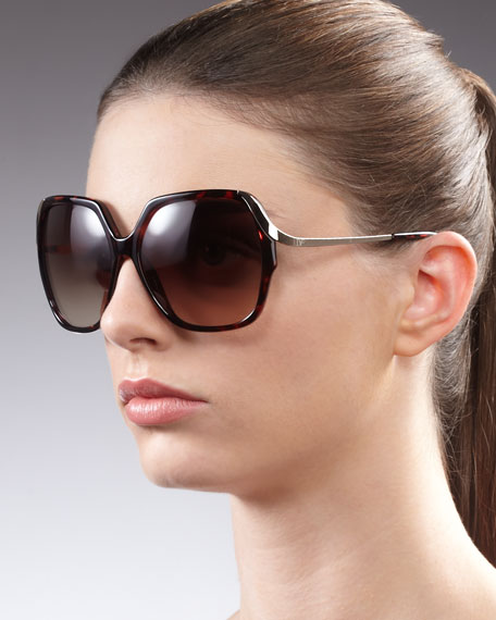 Alejandra Metal-Arm Sunglasses, Tortoise