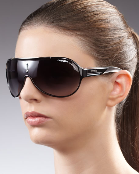 Enamel Shield Sunglasses, Black