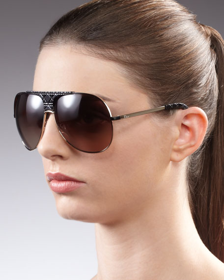 Cannage-Detailed Aviator Sunglasses, Black