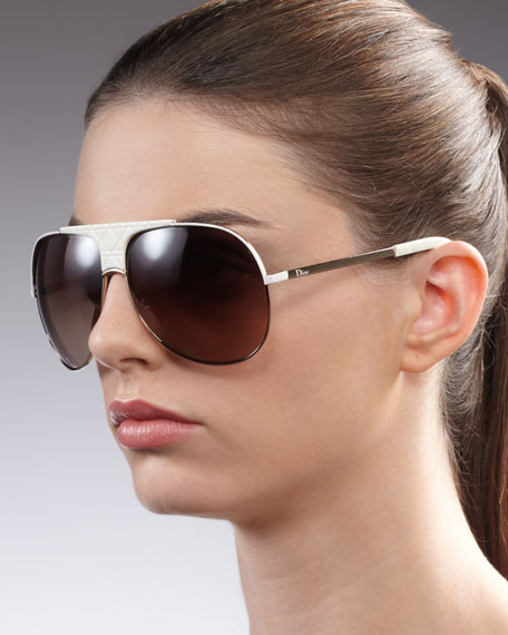 Cannage-Detailed Aviator Sunglasses, White