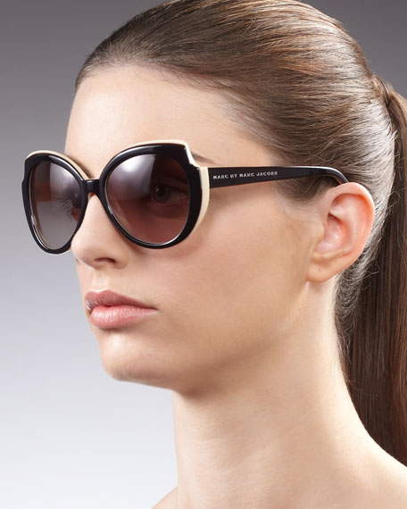 Angled Enamel Sunglasses, Black