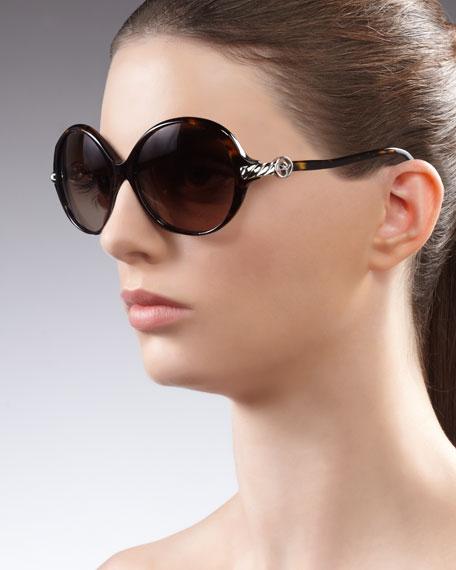 Signature Cable Round Sunglasses, Tortoise