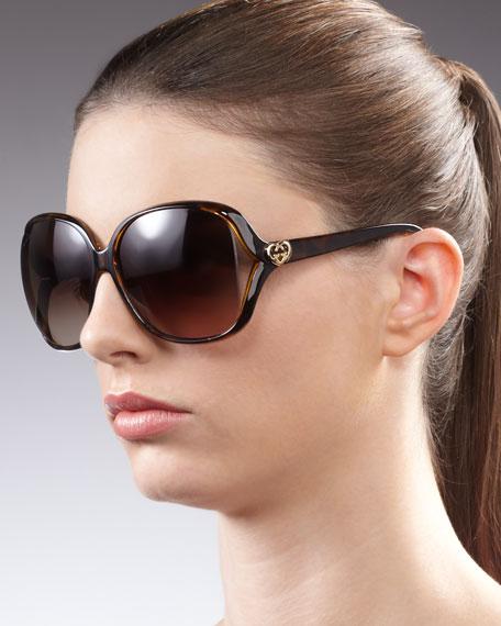 Large Cutout Square Sunglasses, Havana