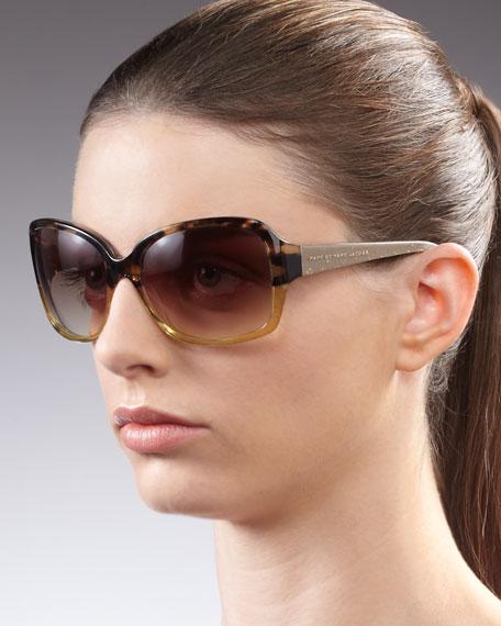 Butterfly-Frame Sunglasses, Beige Havana