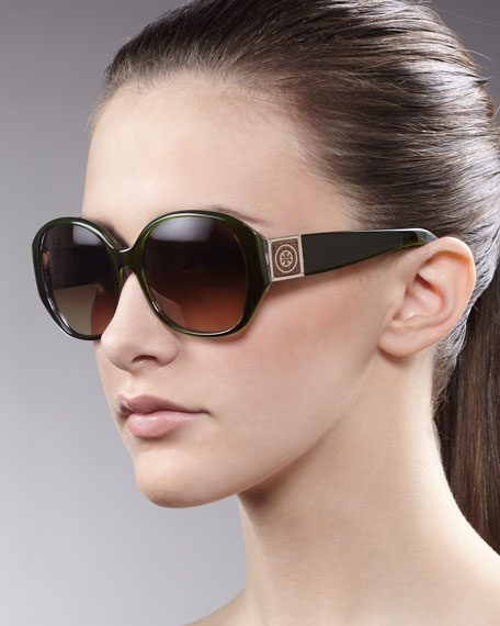 Logo-Temple Sunglasses, Green