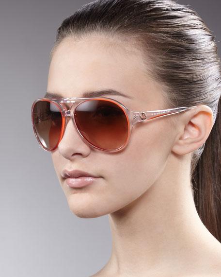 Clear Enamel Aviator Sunglasses, Orange