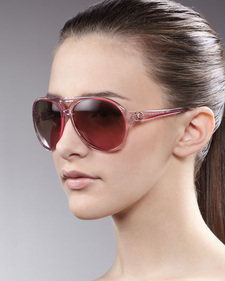 Clear Enamel Aviator Sunglasses, Pink
