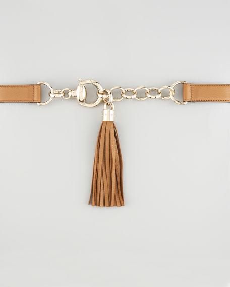 Skinny Leather Belt with Tassel