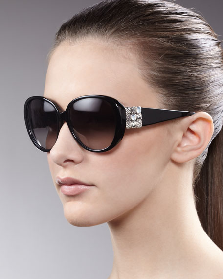 Chiclet Sunglasses, Black Onyx
